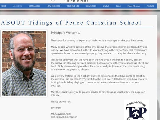 """We have discovered in the 33 years of living in the City of York that children are open to truth, and when trained properly, they can learn to be quiet, clean and orderly,"" Clayton Shenk, principal of Tidings of Peace Christian School, wrote on the school's website. He later apologized."