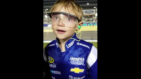 A young Jimmie Johnson celebrated the driver's seventh