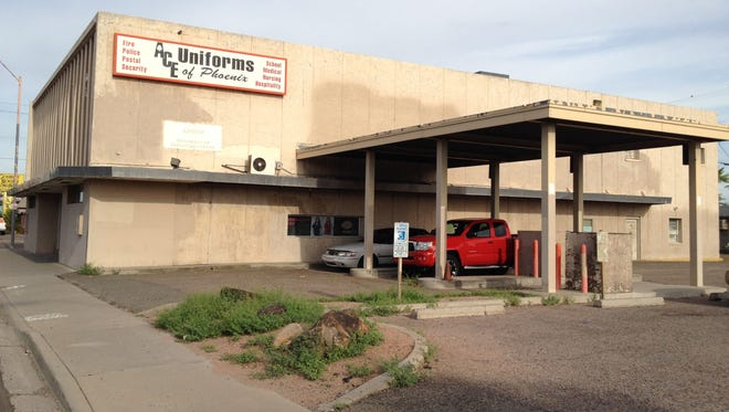 The First National Bank's drive-through is believed to have been the first in Phoenix. The building is no longer a bank.