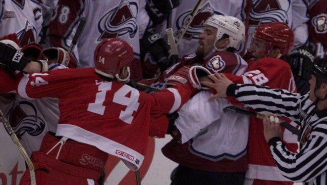Things often got heated between Colorado and Detroit players during their rivalry years.
