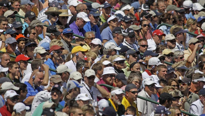 Fans crowd the stands overlooking No. 18 green Sunday, Aug. 15, 2010, during the final round of the PGA Championship at Whistling Straits.