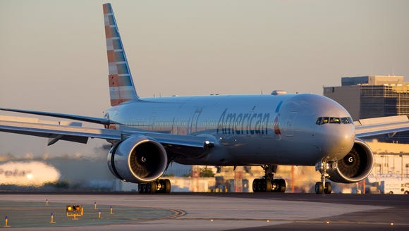 An American Airlines Boeing 777-300ER is seen in a