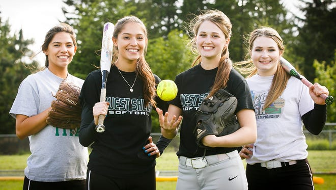 (Left to right) West Salem softball players and sisters Jennifer and Jessica Ball and Bailey and Taylor Holmquist are all teammates for the first time after being friends for many years.