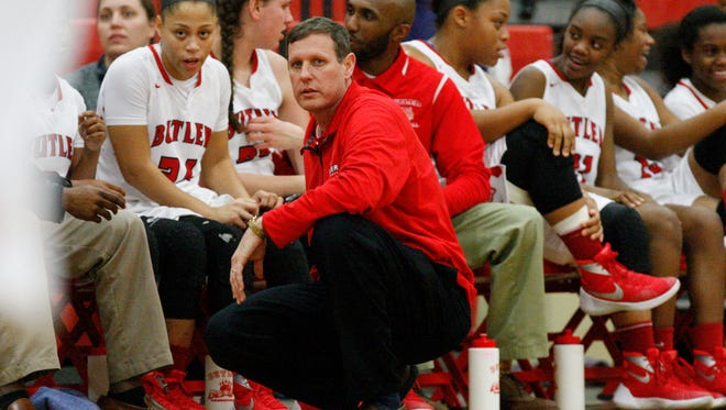 Butler head coach Larry Just watches action against Eastern at Butler High School.Feb. 3, 2016