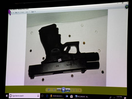 Evidence photo of the 9mm Glock used in the death of