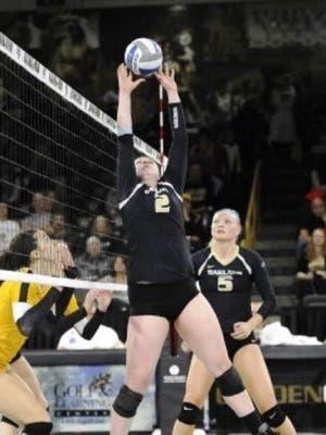 Oakland University senior Ciara Schultz (front) was named Horizon League Setter of the Year.