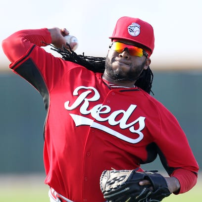 Reds starter Johnny Cueto pitches during spring training.