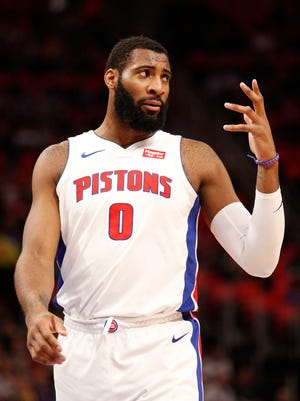 Detroit Pistons center Andre Drummond (0) reacts after a play during the first quarter against the Dallas Mavericks at Little Caesars Arena on April 6, 2018.