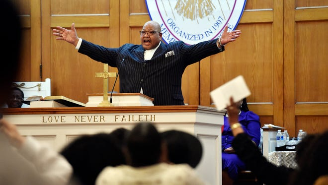 Bill Kerney, pastor of Covenant Family Ministries, speaks from the pulpit during a mid-week Lenten service in March at New Covenant Community Church in York. Kerney became president of the Black Minister's Association of York County after former president Pastor Anthony Sease stepped down following eight years of service.