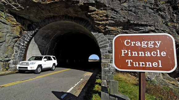 The Craggy Pinnacle Tunnel at Craggy Gardens on the Blue Ridge Parkway. The Craggy Gardens area is one of many on the parkway set to open soon for spring.