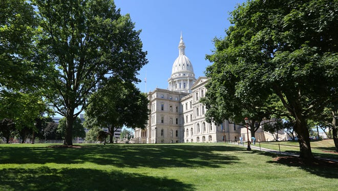 The Michigan State Capitol, modeled after the U. S. Capitol in Washington D.C, was built by Elijah Myers 1872-the end of 1878 and designated a National Historic Landmark in 1992.