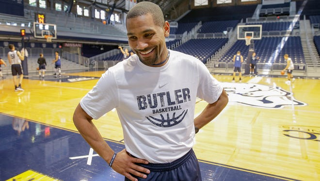 Butler men's basketball head coach LaVall Jordan talks about the teams upcoming trip to Spain before practice Monday, July 31, 2017, afternoon at Hinkle Fieldhouse.