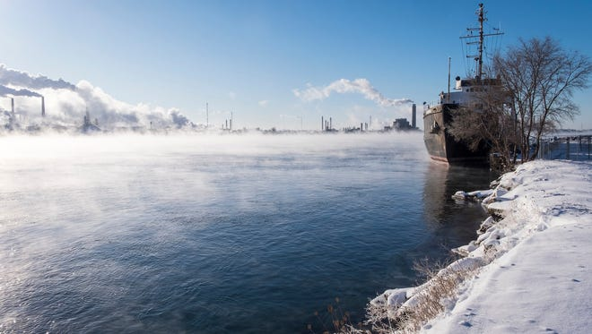 Fog rises off the St. Clair River near the USCGC Bramble in Port Huron, December 2017.