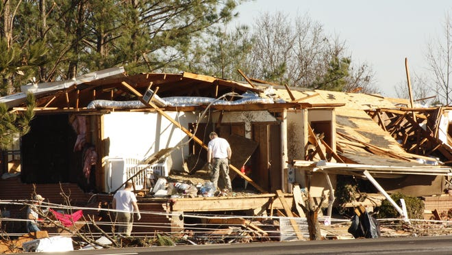 The parsonage at Marlow Church of Christ off U.S. 72 in Benton County was all but destroyed during Wednesday's storms. The church nearby sustained heavy damage in the line of storms that moved through Benton County before touching down in the Brownfield community in Tippah County and heading over the Tennessee state line.