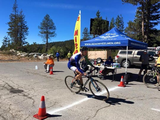 Justin Thomas shown in a cyclocross race in Truckee.