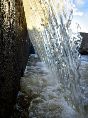 Water from the Santa Clara River runs through a series of channels operated by United Water Conservation District.