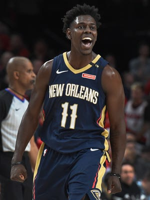 New Orleans Pelicans guard Jrue Holiday reacts after scoring late during the fourth quarter in Game 2 against Portland.