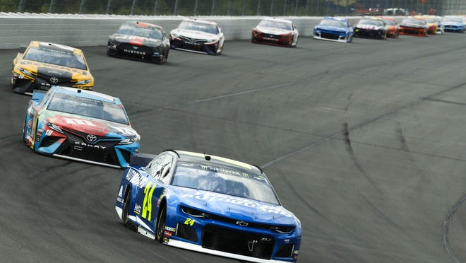 William Byron (24) leads the field into Turn 1 at Pocono Raceway during the NASCAR Cup Series race on June 2, 2019. NASCAR will head back to Pocono Raceway for the Cup Series' debut doubleheader with races on Saturday, June 27, and Sunday, June 28.