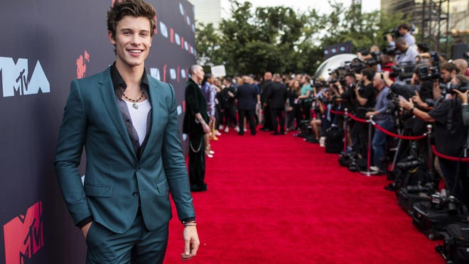 Shawn Mendes arrives at the MTV Video Music Awards on Aug. 26, 2019, in Newark, N.J.