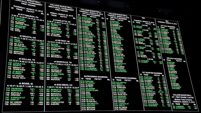 Betting lines on display inside the 25,000-square-foot Race & Sports SuperBook at the Westgate Las Vegas Resort & Casino in Las Vegas on March 15, 2018.