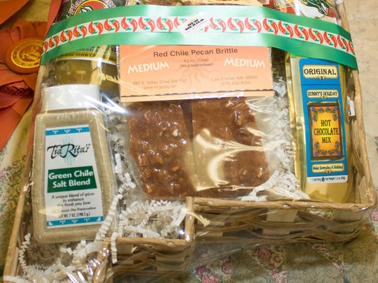 Pictured is a gift basket created at The Truck Farm on Thursday. The basket is in the shape of the state of New Mexico.