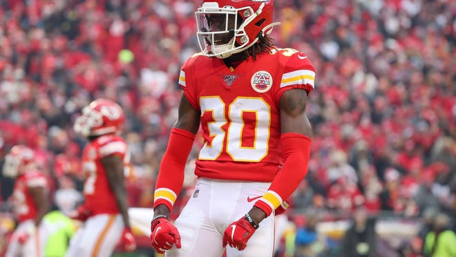Kansas City Chiefs cornerback Alex Brown (30) reported Saturday that he suffered a torn anterior cruciate ligament during practice.