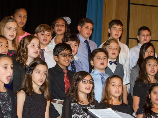Fifth grade chorus students performing at the winter concert at Valley View School in Watchung on Dec. 8th