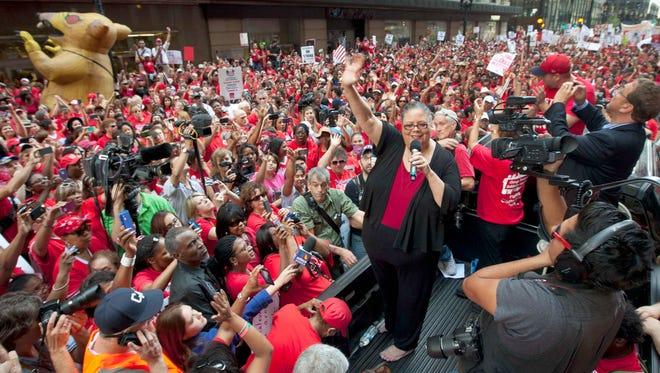 Public school teachers rally in Chicago, Sept. 11, 2012.