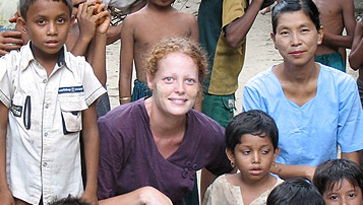 A photo of Kaci Hickox in overseas work, courtesy of