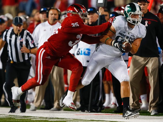 Nile Sykes (35) was the Hoosiers' top returning sack man from the defensive line for 2017 before a preseason injury ended his year before it even started.