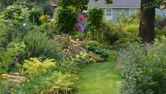 Stroll rivers of lawn through plantings of evergreens, hostas, sedum, vegetables and native perennials at the Kirby and Elizabeth Ann Throckmorton home. It will be one of private residential yards in the Stevens Point and Plover area featured in the annual Garden Parade.