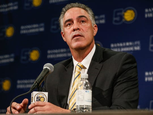 Indiana Pacers President Kevin Pritchard speaks to
