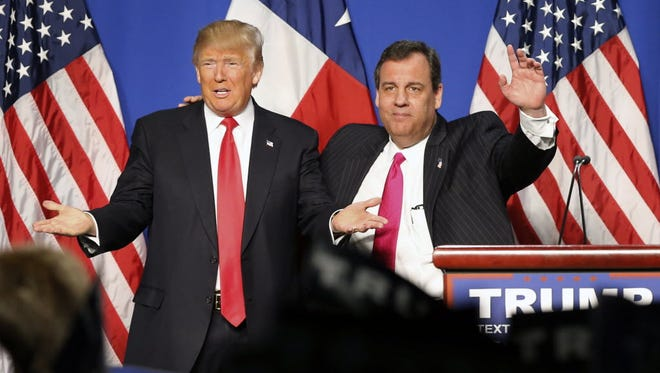 Chris Christie and Donald Trump at the Fort Worth Convention Center after Christie endorsed Trump, Feb. 26, 2016.