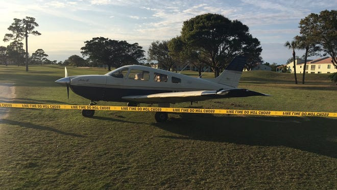 A small plane made an emergency landing Saturday, Jan. 28, 2017, at the Miles Grant Country Club golf course in Stuart.