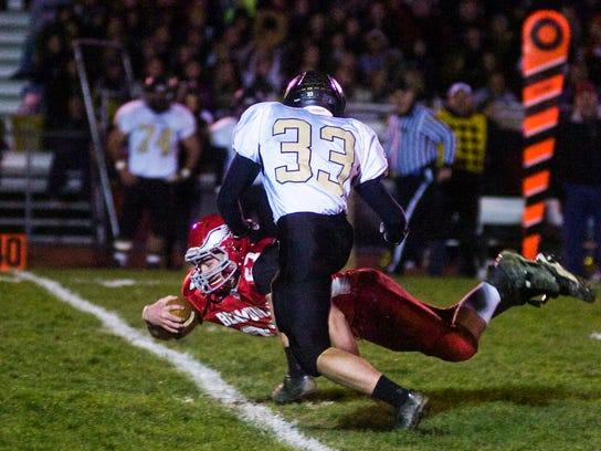 Bermudian's Tristan Sponseller helped the Eagles cap their 10-0 regular season with a 37-21 win over visiting Biglerville on Friday. (The Evening Sun -- Shane Dunlap)