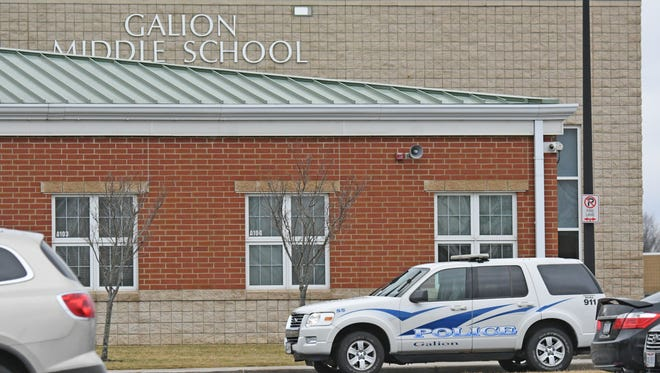 The Galion City School District received a bomb threat mid-morning Tuesday at the Galion Middle School. Students from the middle school were evacuated to the high school while authorities searched for threats.