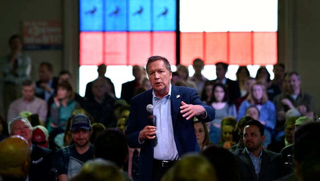 Ohio Gov. John Kasich speaks at a town hall meeting in Portland, Ore., on April 28 , 2016.