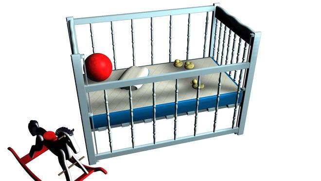 Empty crib illustration