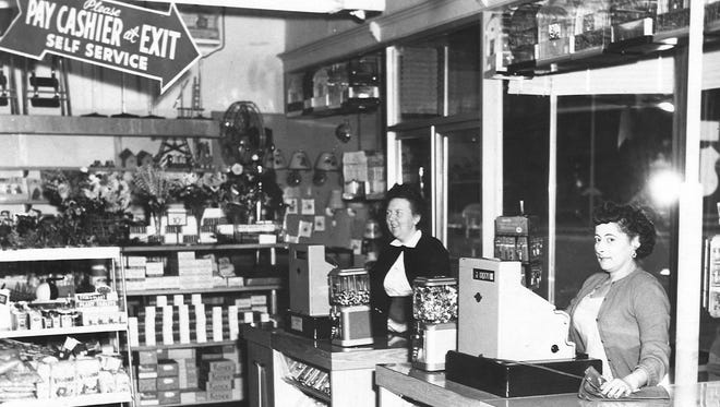 Front check-out at Kean's Store, Ruth Gray, who worked at Kean's for 50 years, left, and Ethel Hildreth.