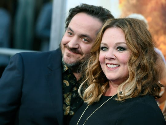 """Ben Falcone (left) and Melissa McCarthy arrive at the Los Angeles premiere of """"CHIPS."""""""