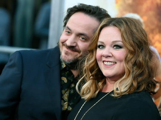 "Ben Falcone (left) and Melissa McCarthy arrive at the Los Angeles premiere of ""CHIPS."""