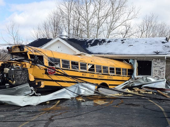 A Henryville High School bus was blown into Budroe's