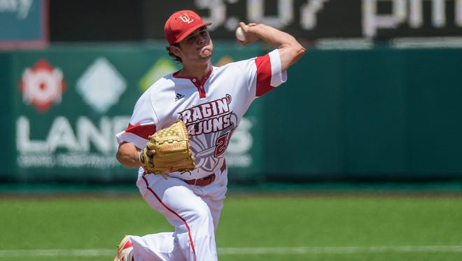 UL pitcher Gunner Leger (28), shown here throwing against Houston in a 2015 NCAA Regional game at Houston, is expected to start Friday against Appalachian State.