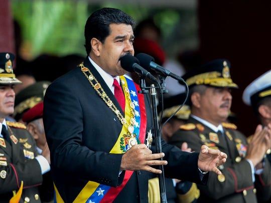 Venezuelan President Nicolas Maduro delivers a speech