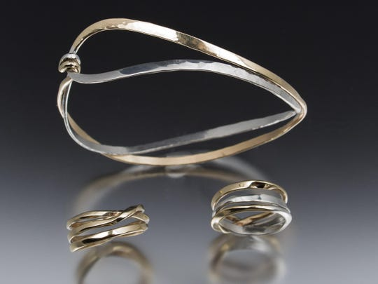 Gold and silver jewelry by Amanda DeWitt will be featured in the 'Silver and Gold' show Feb. 6 at Plum Bottom Pottery and Gallery.