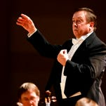 Great Falls Symphony music director and conductor, Gordon Johnson conducts the orchestra in the Mansfield Theater for Performing Arts.