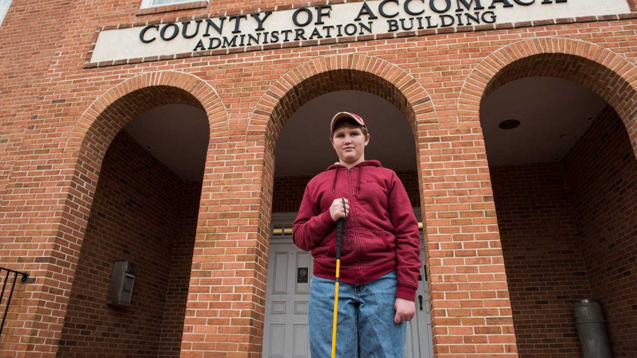 Accomack County's government building is more accessible to visually impaired residents these days, thanks to the efforts of Bryce Ward, 13.