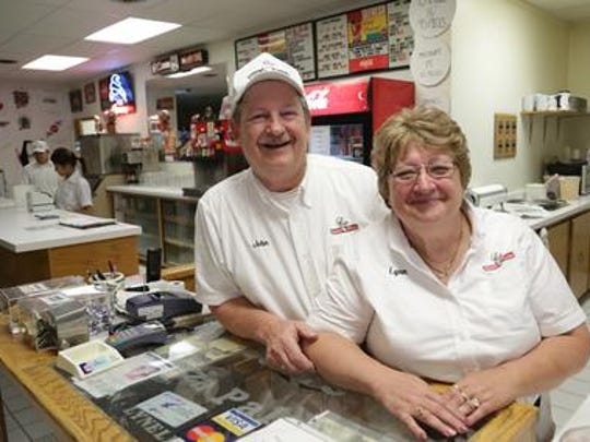 John and Lynn Huber are the owners of Sam's Pizza in Schofield. They were photographed at the business, Friday, August 22, 2014. They'll be handing the business down to their daughter and son-in-law, Jodi and Vince Lacalamita on July 1, 2016.