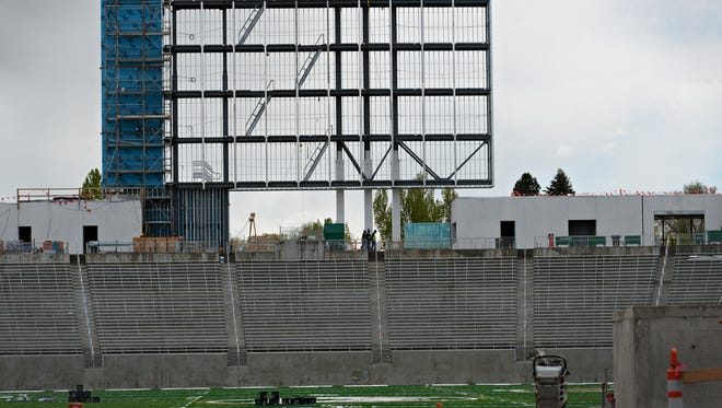 Construction continues on the on-campus stadium at CSU on Tuesday, April 25, 2017.