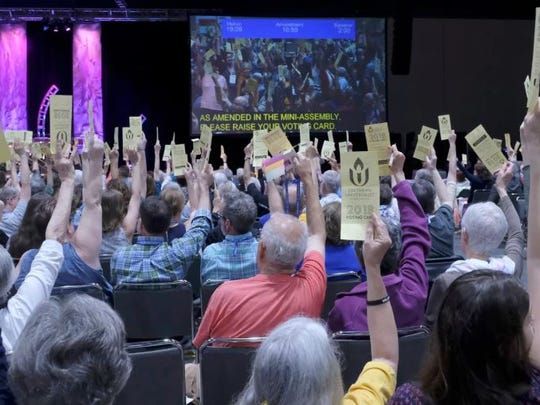 Delegates voting during the General Assembly of the Unitarian Universalist Association meeting in Kansas City, Mo., on June 20-24, 2018.